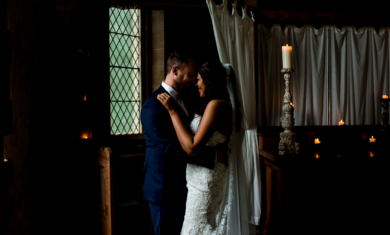 romantic lighting on couple inside belladrum temple