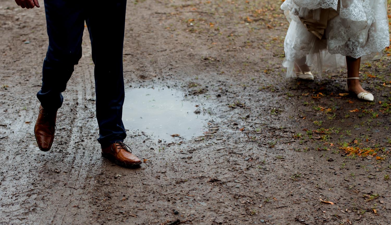 walking through muddy puddles, scottish wedding