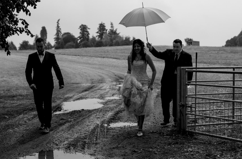 walking in the rain scottish wedding