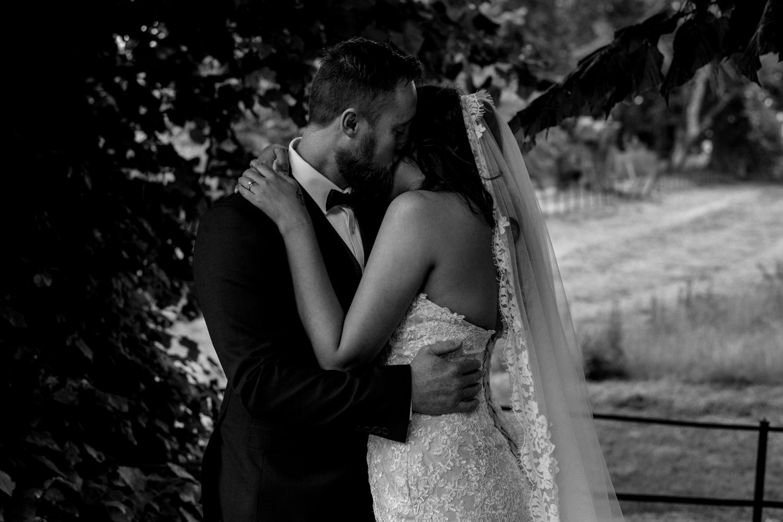 romantic shot of newlyweds
