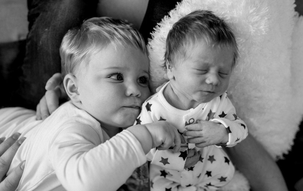newborn with brother